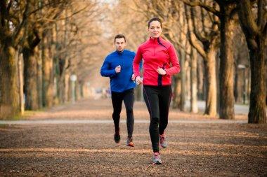 Couple jogging together