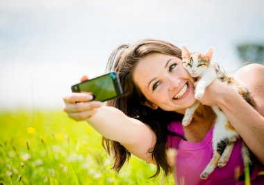 Selfie woman and cat