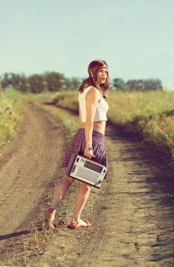 Beautiful girl on a road