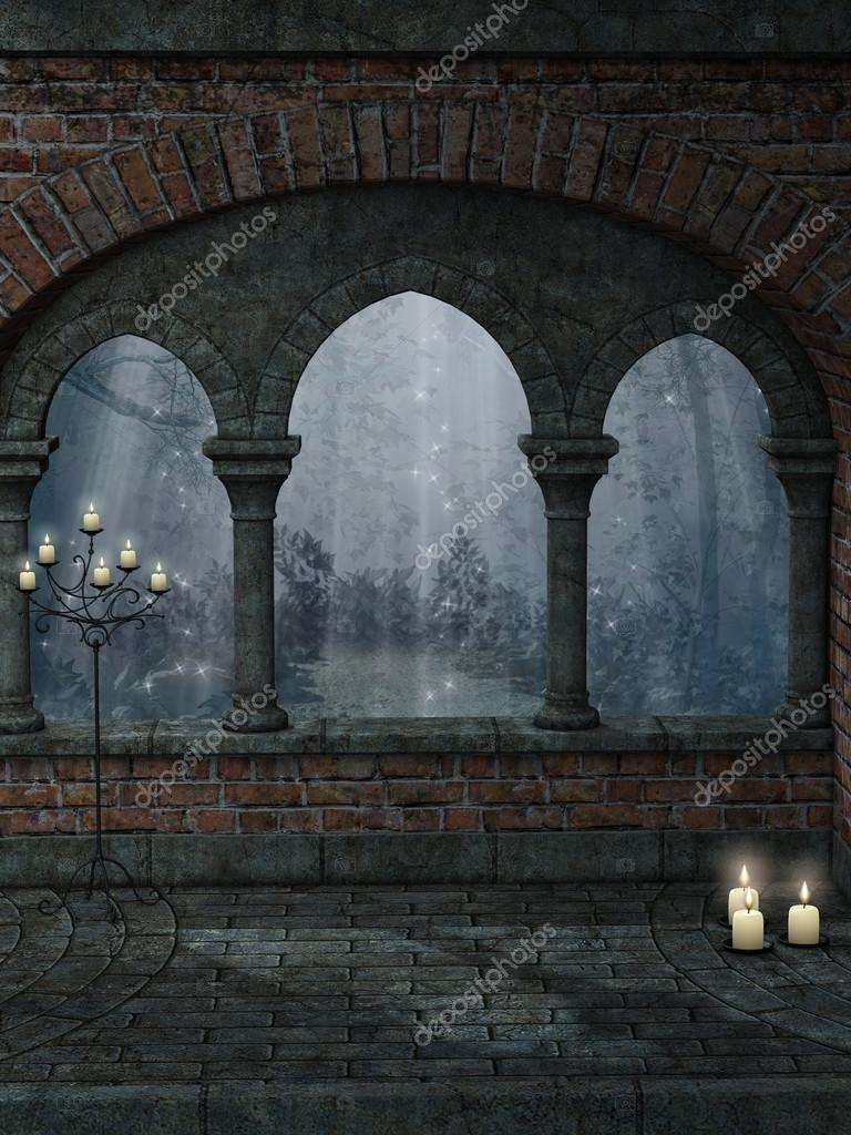Fantasy landscape with old structure