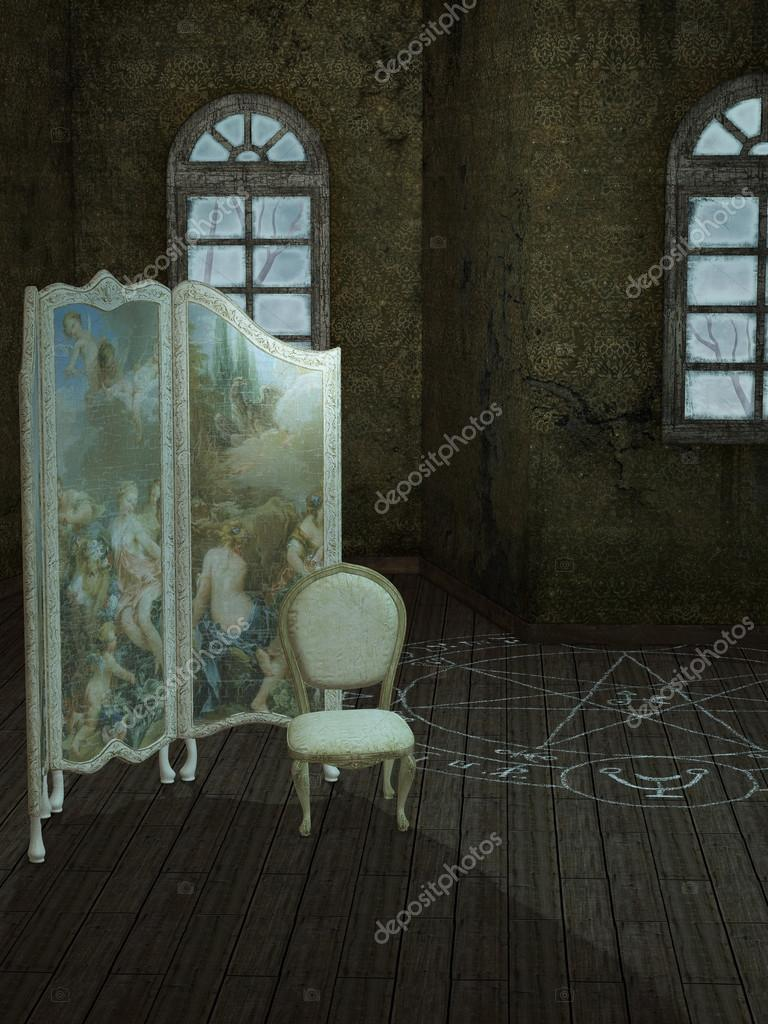 Fantasy background in a dark room