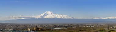 panorama of snow-capped Ararat mountain in the morning, view from Yerevan