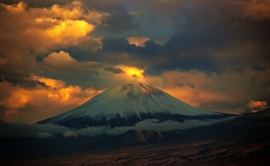 dramatic sunset and small top of Ararat mountain, view from Yerevan