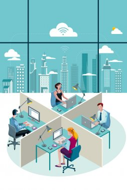 Office Workers Sitting and City