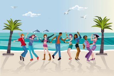 Young People Dancing at the Beach