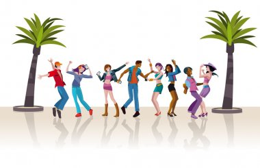 Young People Dancing White Background