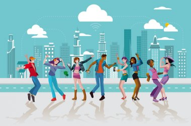 Young People Dancing In a City