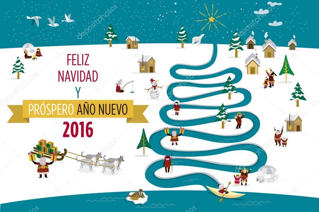 Cartão De Natal De 2016 Com Esquimós Espanhol