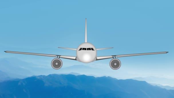 Animace letadel s tryskovými motory s lehkou turbulencí v horské krajině
