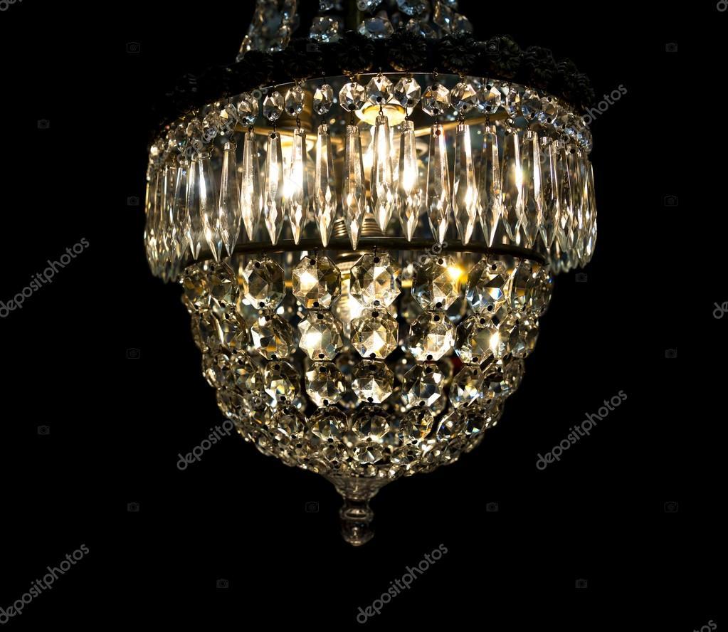 Vintage chandelier on black stock photo pinkbadger 89127490 vintage chandelier on black stock photo mozeypictures Choice Image
