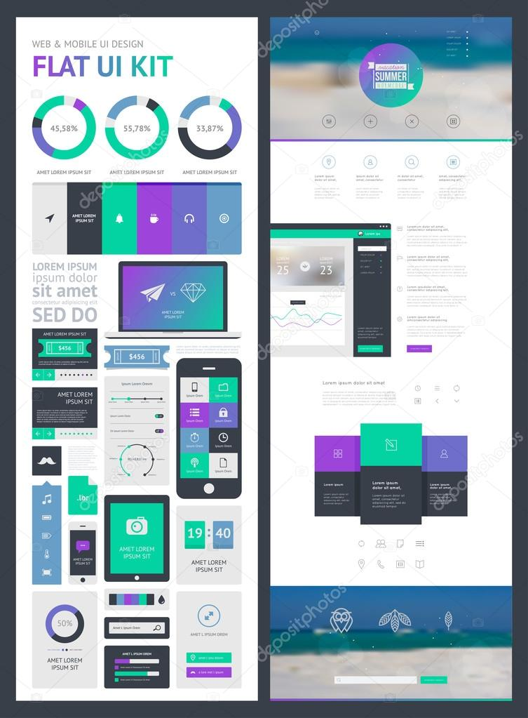 Flat UI kit for web and mobile, UI design, page website design template.