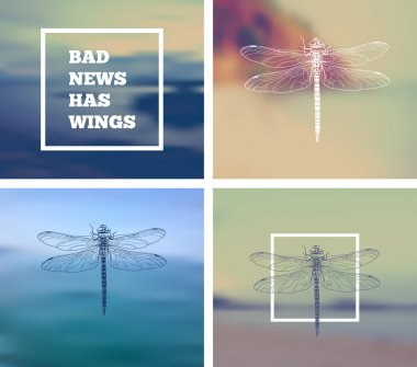 dragonflies with inscription -Bad news has wings
