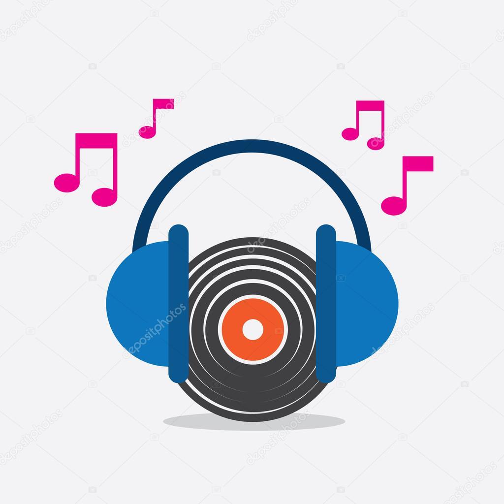 vinyl record headphones music stock vector milo827 76398807 rh depositphotos com Music Notes Graphics Music Notes Graphics