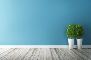 """Картина, постер, плакат, фотообои """"белый цветок и интерьер голубой стены """", артикул 53709565"""