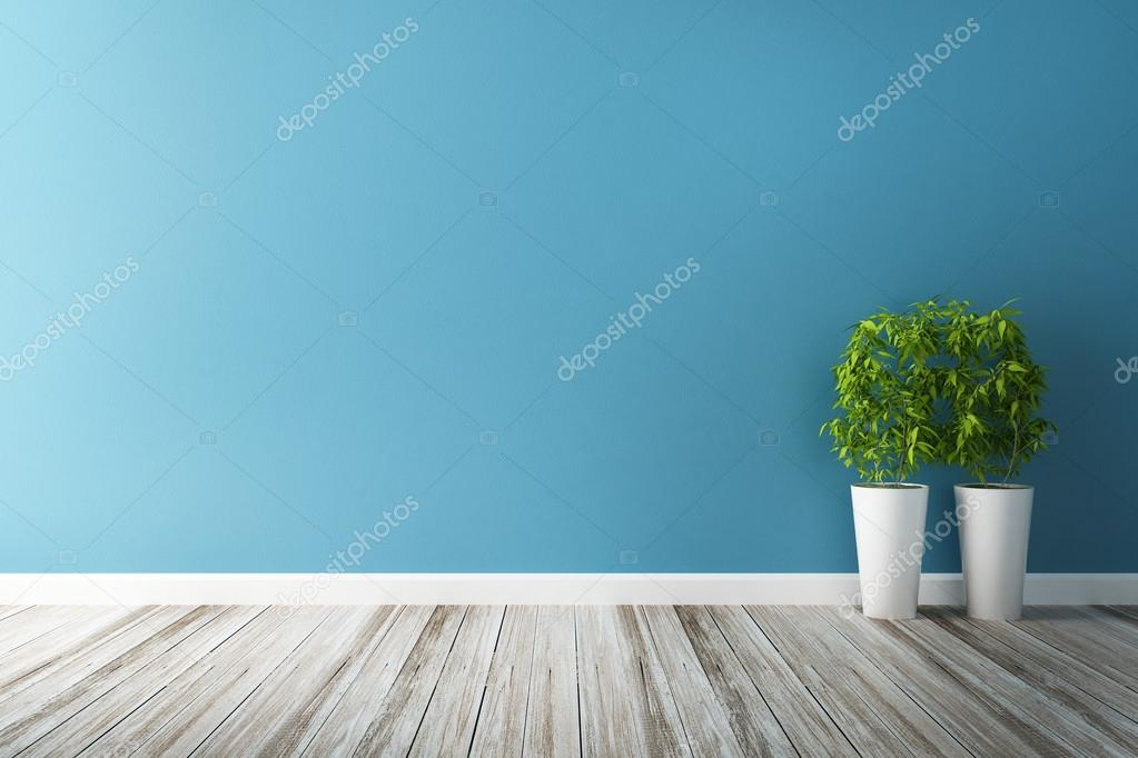 white flower plot and blue wall interior