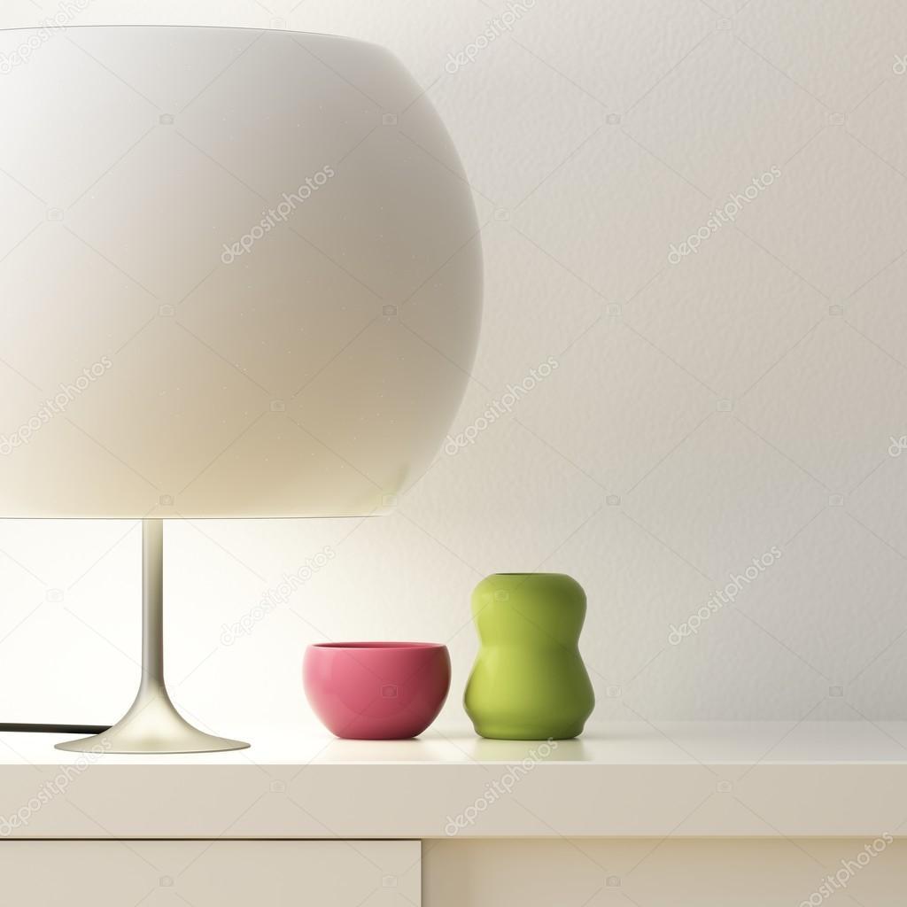 Weißer Lampe Und Vase Farbe Auf Schrank Dekorieren Stockfoto