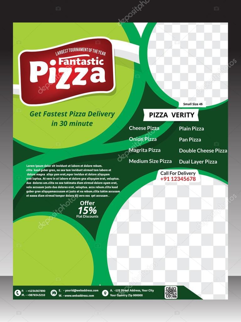 diseño de plantilla de flyer de pizza y la revista — Archivo ...