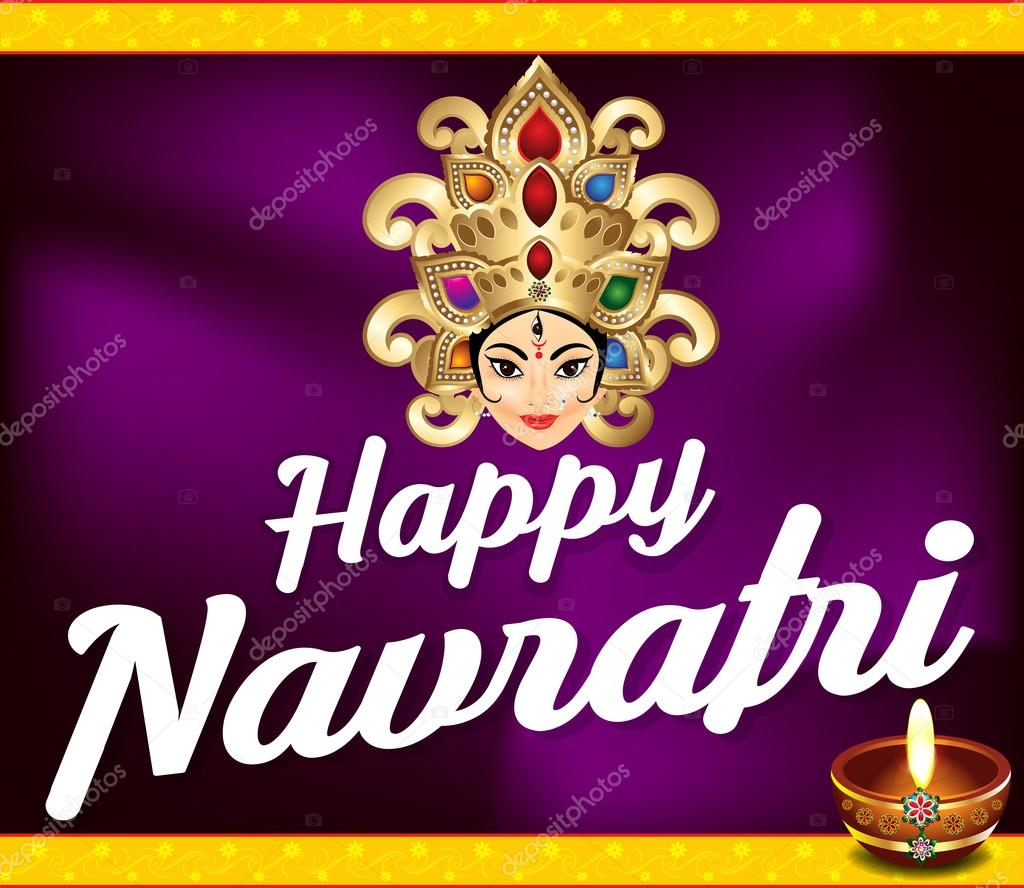 happy navratri background with deepak