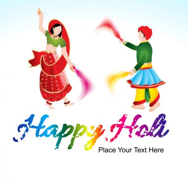 Happy holi background with traditional indian couple vector illustration stock vector