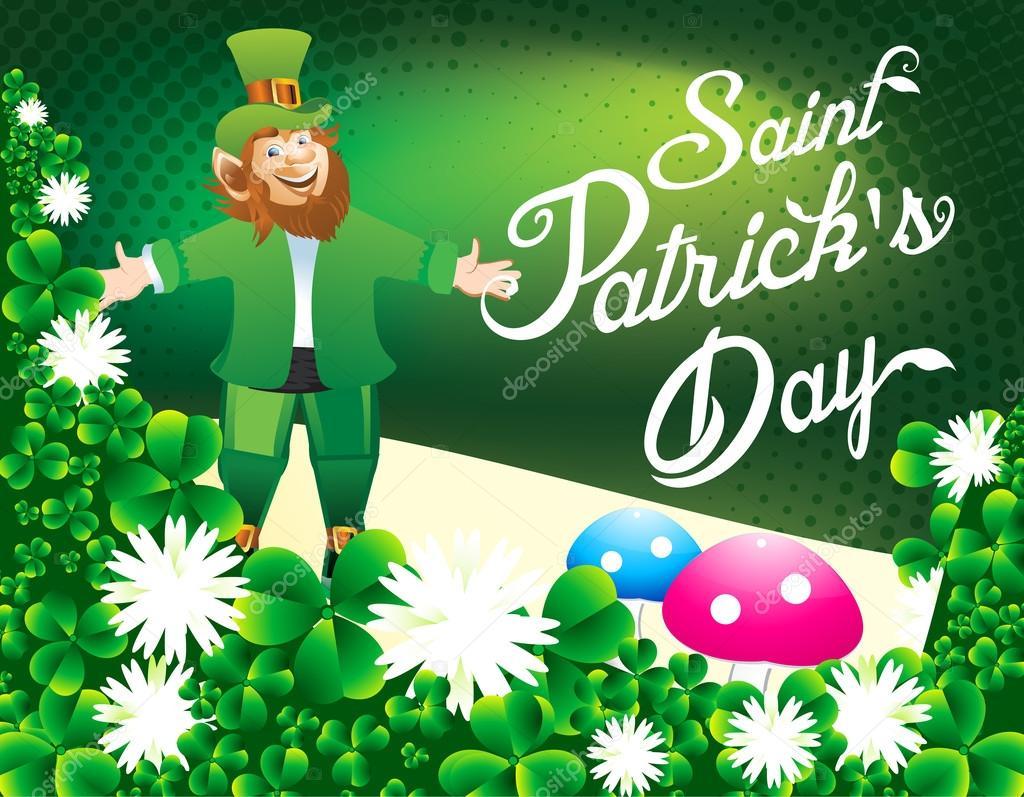 glücklich St Partrikc Tag Hintergrund mit Klee — Stockvektor ...