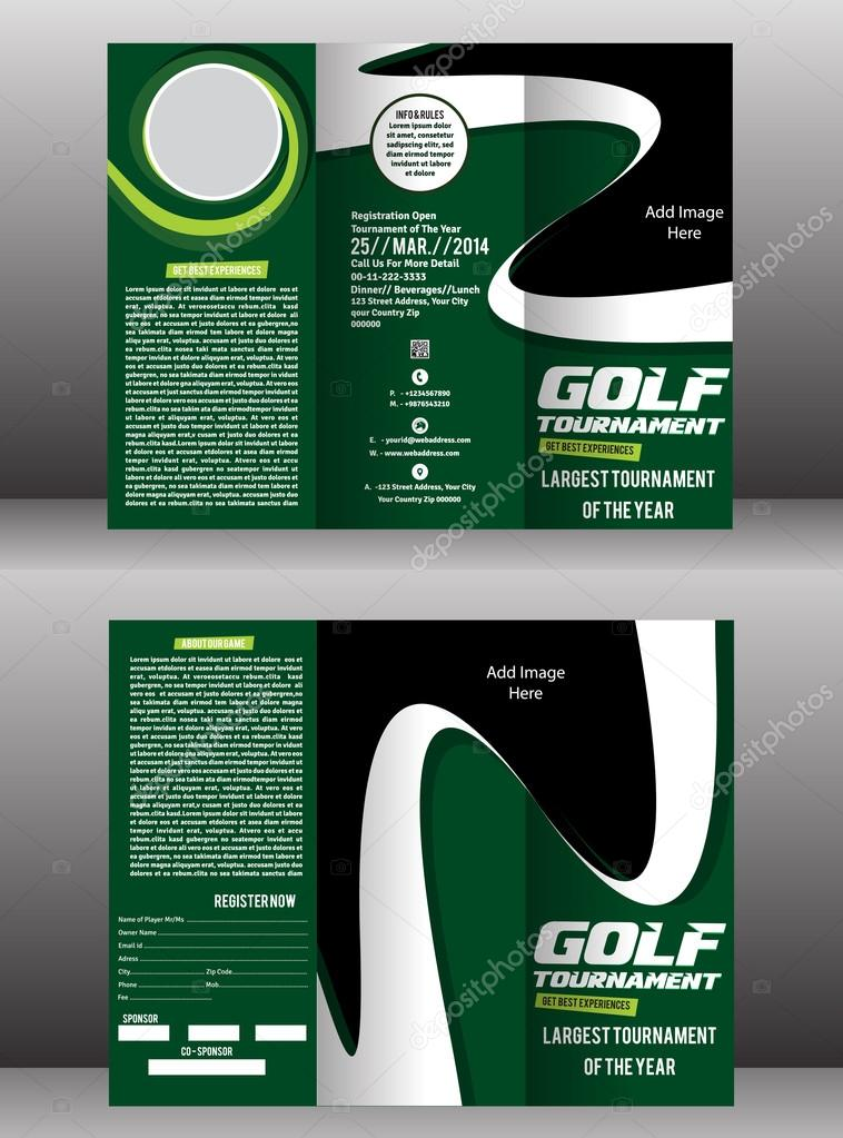 Tri Fold Golf Brochure Flyer Template Stock Vector Gurukripa