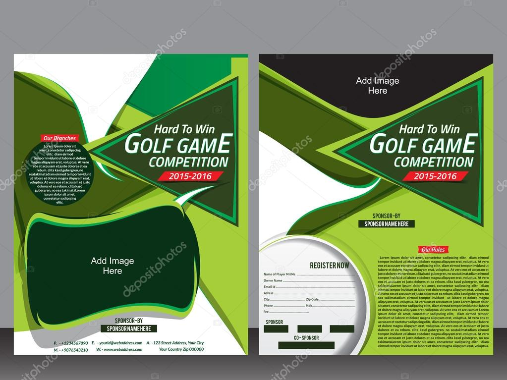 golf flyer template and magazine design stock vector