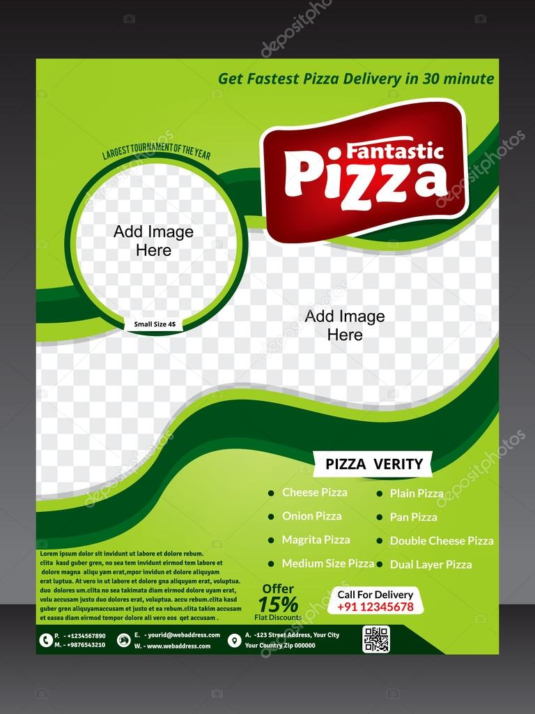 pizza flyer template magazine design template stock vector
