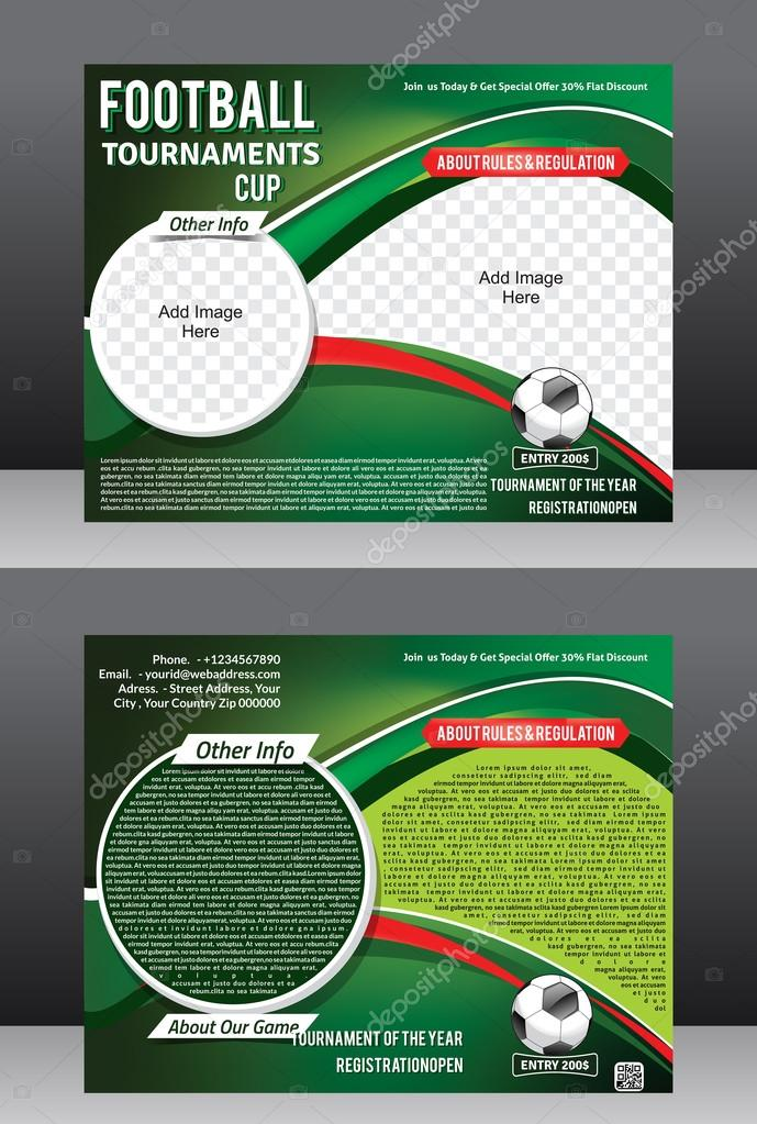 football tournament flyer template magazine design stock vector