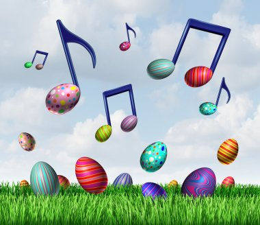Easter spring music symbol as a group of easter eggs in the grass and flying in the sky as musical notes representing a happy joyful springtime traditional celebration. stock vector