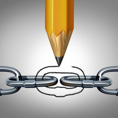 Concept of strength as a disconnected chain with a pencil drawing a link to unite the 3D illustration object as a business concept of connection and creative team management. stock vector