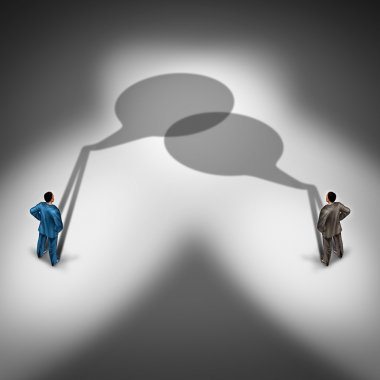 Business communication network as a word bubble shadow group connecting together talking and having an exchange of ideas as a  two businesspeople in a conversation in a 3D illustration style. stock vector