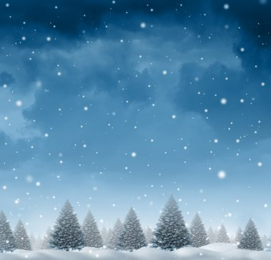 Winter snow background concept with a cold blue forest of pine trees on a snowing holiday night sky as a design element with copy space for the Christmas season and festive celebration of for the time of giving. stock vector