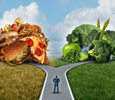 Diet decision concept and nutrition choices dilemma between healthy good fresh fruit and vegetables or greasy cholesterol rich fast food with a man on a crossroad trying to decide what to eat for the best lifestyle choice. stock vector