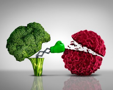 Health food and Cancer fighting foods nutrition concept with a green boxing glove emerging out of an open broccoli vegetable as a health care metaphor for a healthy lifestyle diet rich in natural fruit and vegetables to attack tumors and fight illnes stock vector