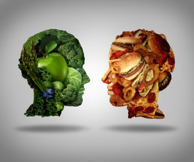 Lifestyle choice and dilemma concept as a two human faces one made of fresh green vegetables and fruit and the other head shaped with greasy fast food as hamburgers and fried foods as a symbol of nutrition facts and healthy living issues. stock vector