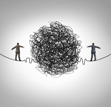 Partnership problem and business confrontation concept as two business people walking on a high wire tightrope with a tangled group of wire obstacle dividing the businessmen as a crisis metaphor for professional relationship stress. stock vector