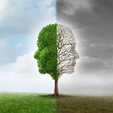 Human emotion and mood disorder as a tree shaped as two human faces with one half empty branches and the opposite side full of leaves in the summer as a medical metaphor for psychological issues pertaining to contrast in feelings. stock vector