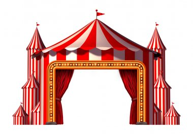 Circus blank space stage tent design element as a group of big top carnival tents with a red curtain opening entrance as a fun entertainment icon for a theatrical party festival isolated on a white background. stock vector