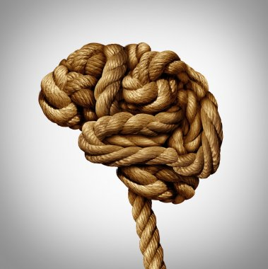 Tangled brain mental health concept as a rope twisted into a human thinking organ as a medical neurological symbol for mind function or diseases as dementia or autism. stock vector