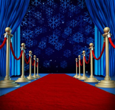 Winter red carpet background as a catwalk or runway in an auditorium stage with snowflakes falling down as a seasonal holiday celebration for newyear marketing or promotion with copyspace. stock vector