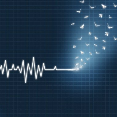 Afterlife concept as an ecg or ekg medical heart monitor lifeline  showing a flatline transforming into white doves flying upward towards heaven as a spiritual faith metaphor for believing in life after death. stock vector