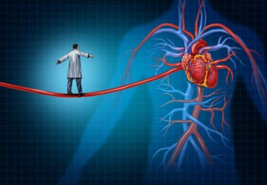 Heart surgery concept as a cardiac surgeon walking on an artery shaped as a high wire rope leadsing to the inner cardiovascular organs of the human anatomy as a cardiology medical idea. stock vector
