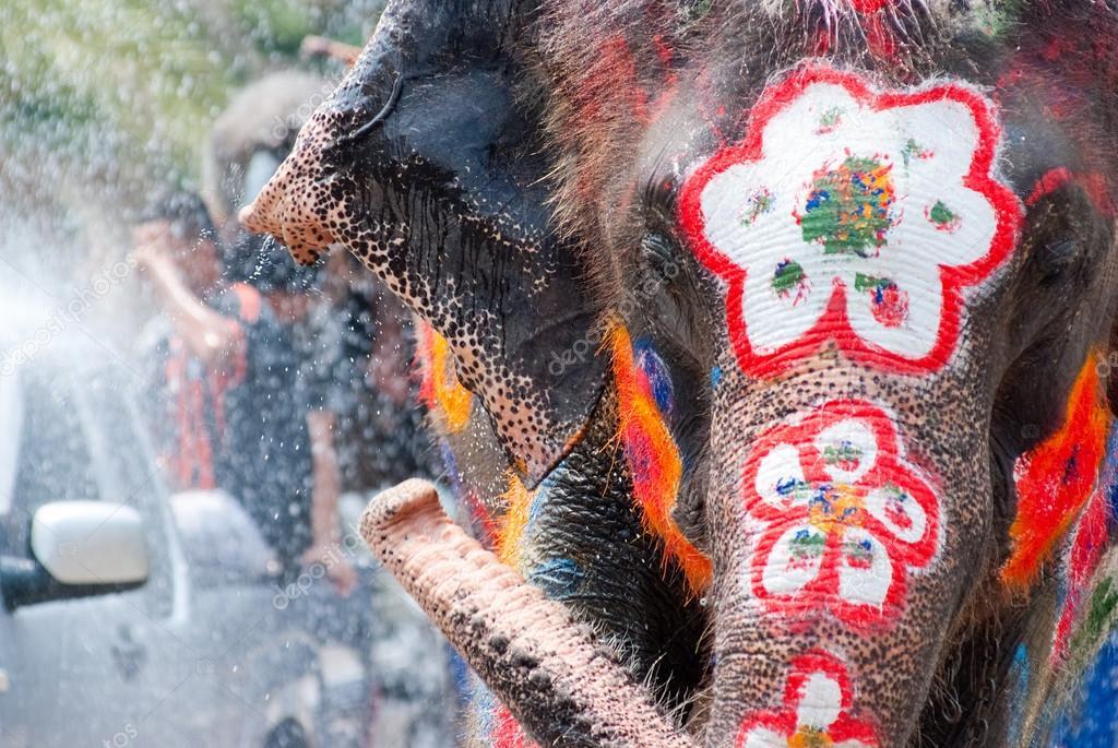 Elephant splashing water during Songkran Festival