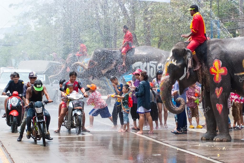 Water splashing during Songkran Festival