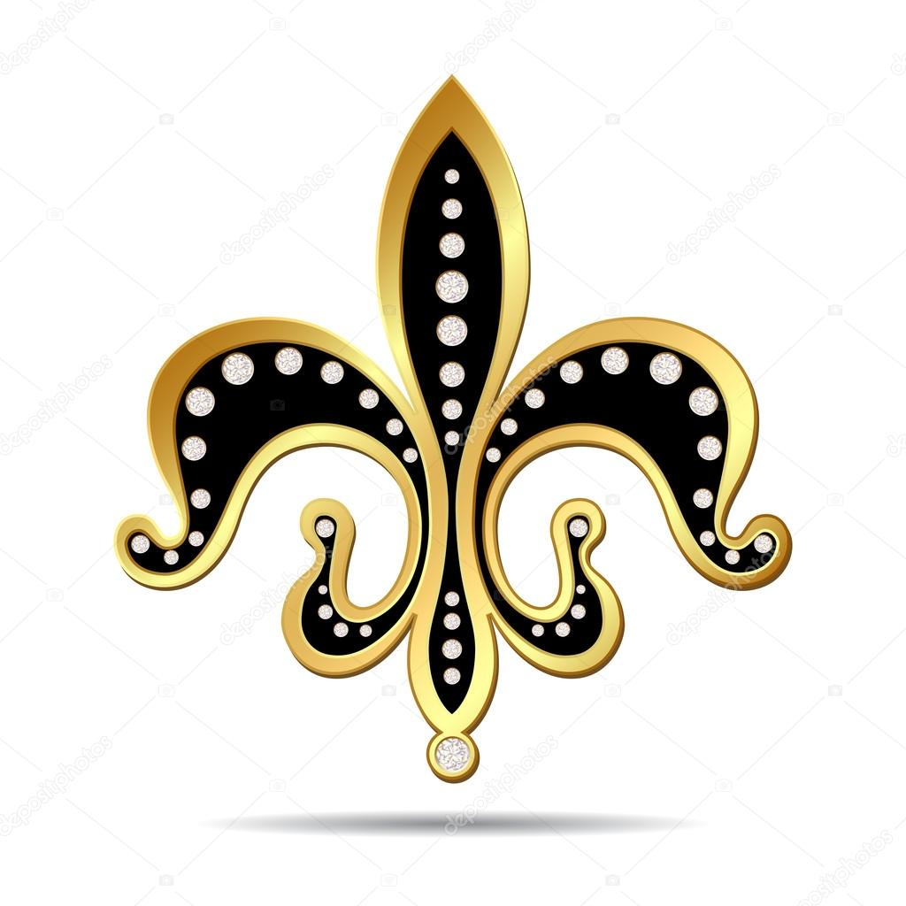 Black Fleur De Lis With A Gold Rim Stock Vector C Tassel 112528772