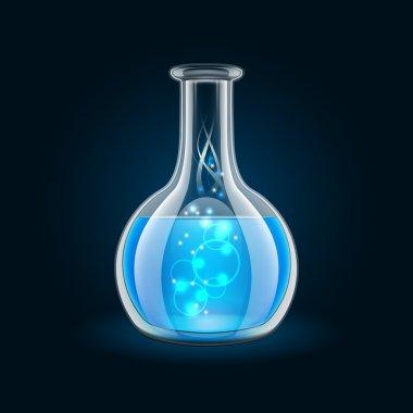Transparent flask with magic blue liquid on black background.