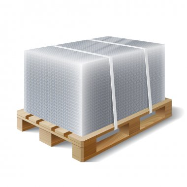 Image of cargo wrapped bubble wrap on wooden pallet. Symbol transport shipping. Vector illustration clip art vector