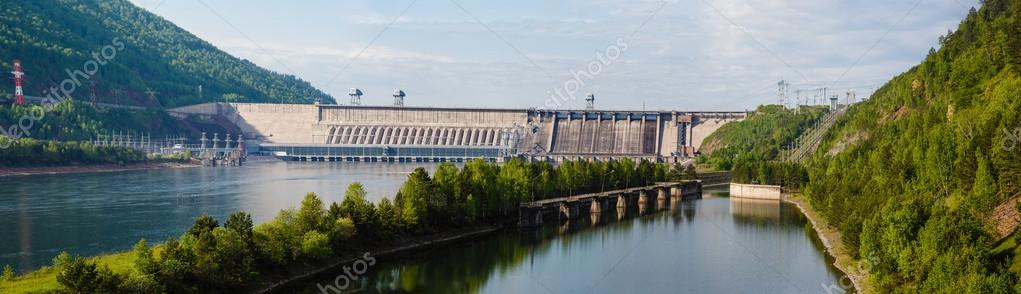 Summer, view of Hydroelectric power station on the Yenisei River