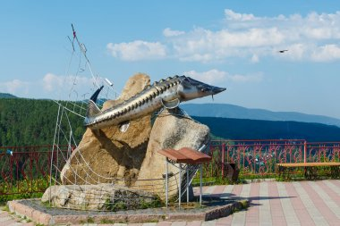 Viewing Krasnoyarsk monument fish