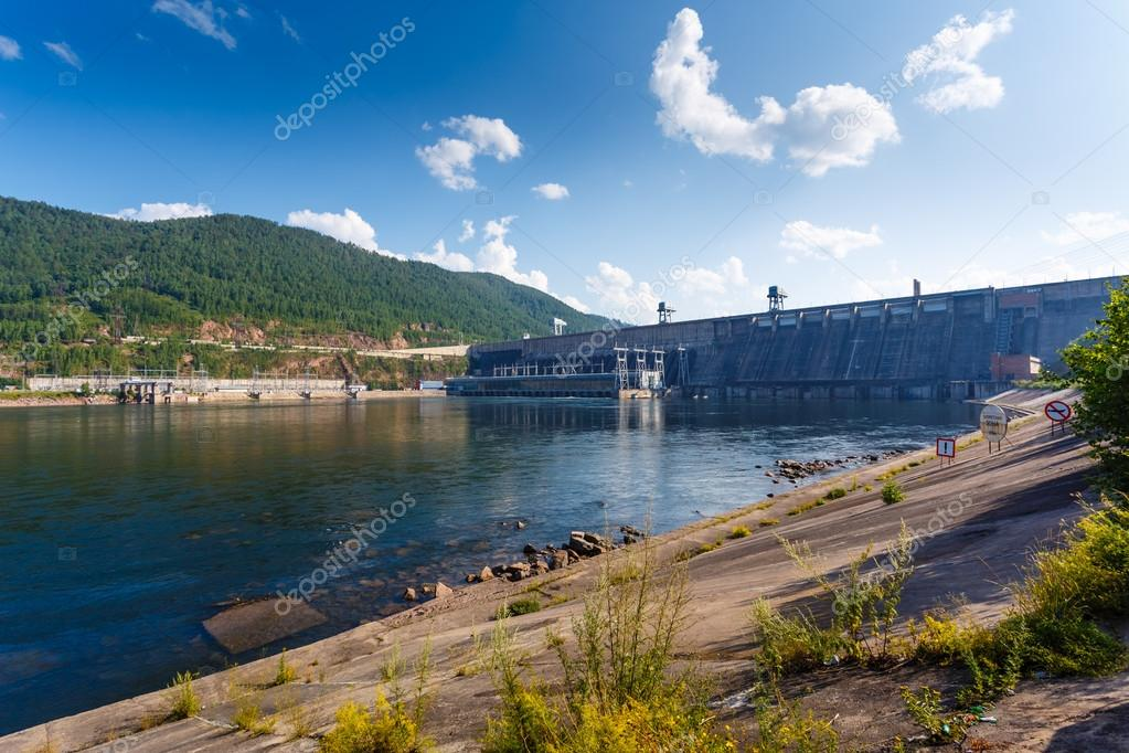 The Siberian landscape power plant on the Yenisei River